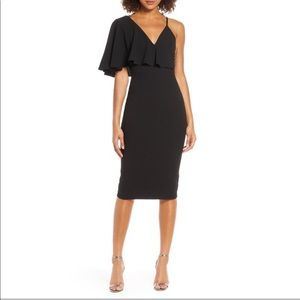 Dress The Population Asymmetrical Ruffle Sleeve